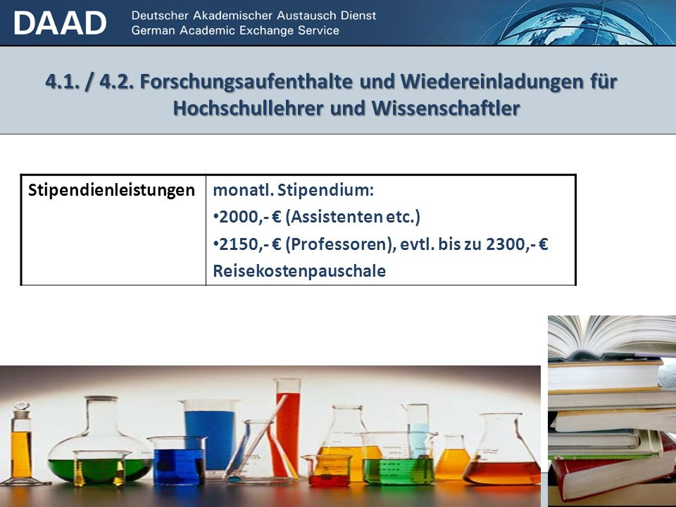 4.1. / 4.2. Forschungsaufenthalte und Wiedereinladungen für Hochschullehrer und Wissenschaftler