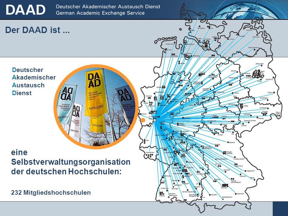 Der DAAD ist ... Deutscher Akademischer Austausch Dienst. eine. Selbstverwaltungsorganisation der deutschen Hochschulen: