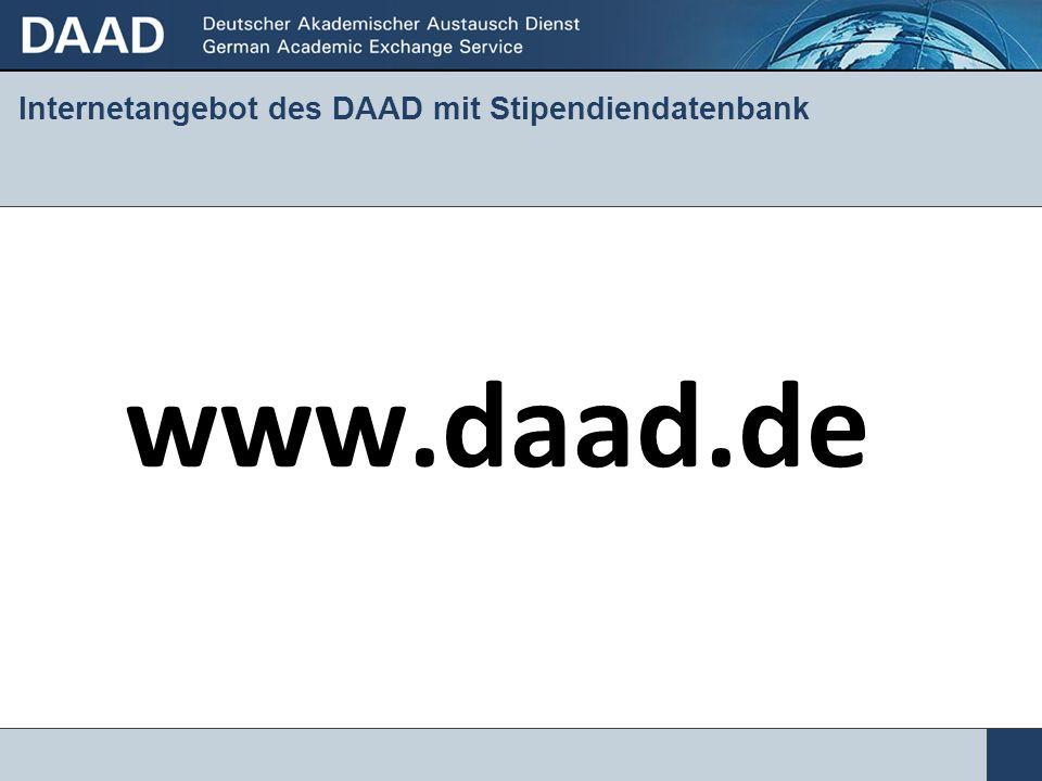 Internetangebot des DAAD mit Stipendiendatenbank