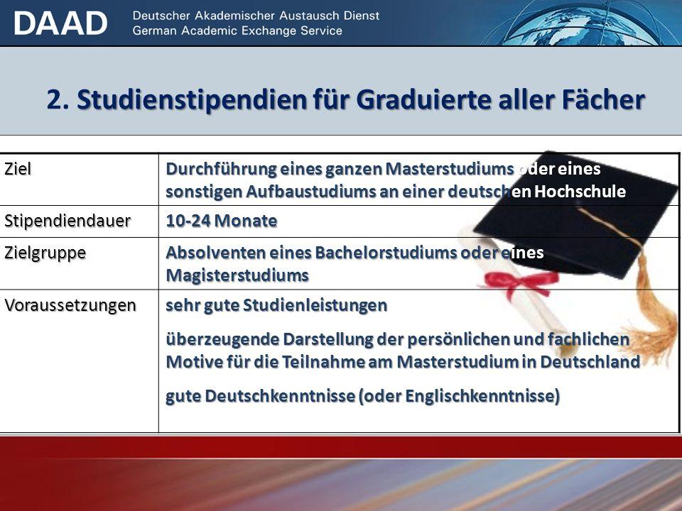 2. Studienstipendien für Graduierte aller Fächer