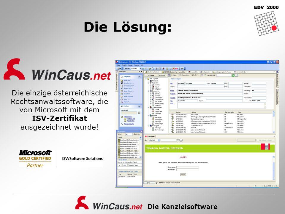 Die Lösung: Die einzige österreichische Rechtsanwaltssoftware, die von Microsoft mit dem ISV-Zertifikat ausgezeichnet wurde!