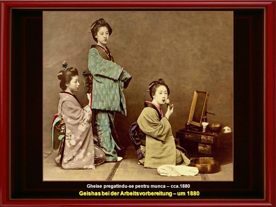 Geishas bei der Arbeitsvorbereitung – um 1880