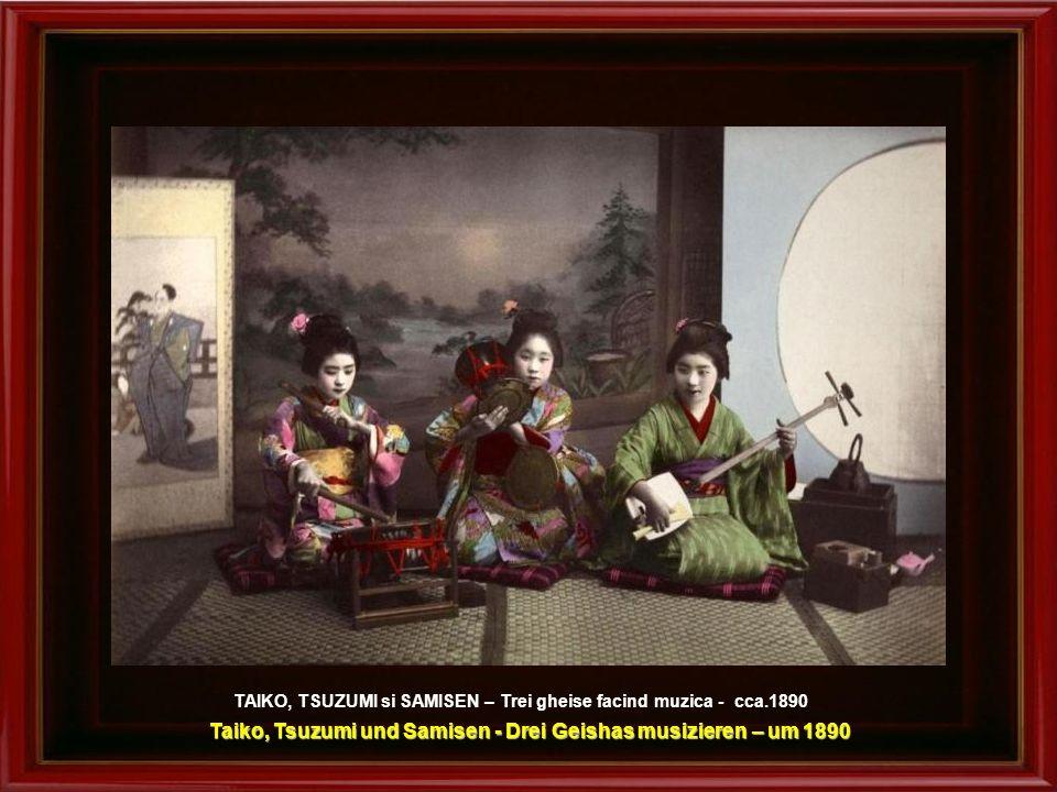 Taiko, Tsuzumi und Samisen - Drei Geishas musizieren – um 1890