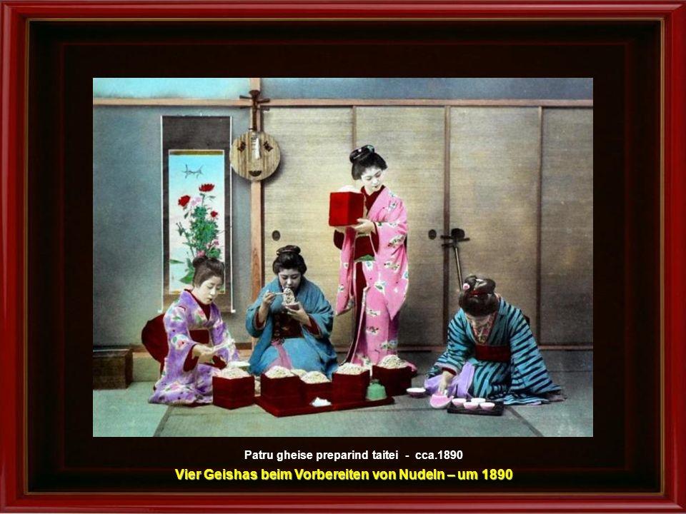 Vier Geishas beim Vorbereiten von Nudeln – um 1890