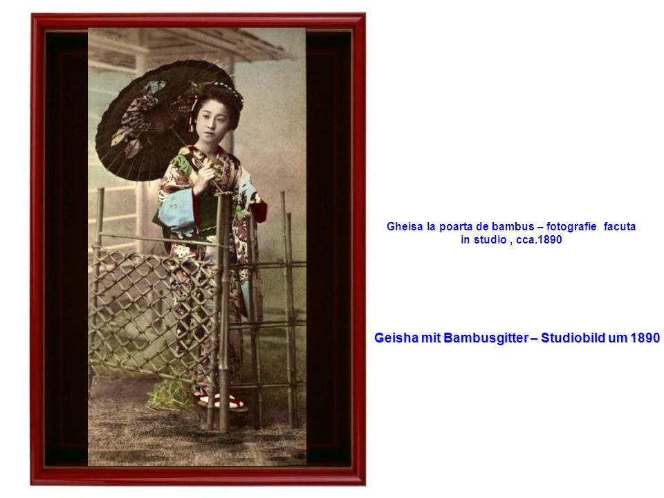 Geisha mit Bambusgitter – Studiobild um 1890