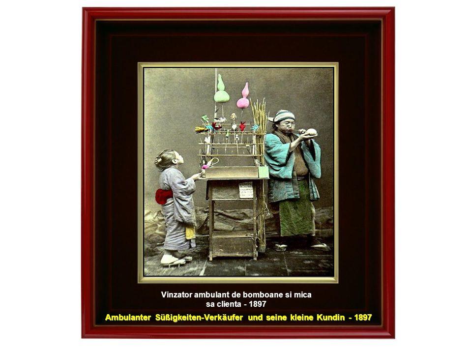 Ambulanter Süßigkeiten-Verkäufer und seine kleine Kundin - 1897