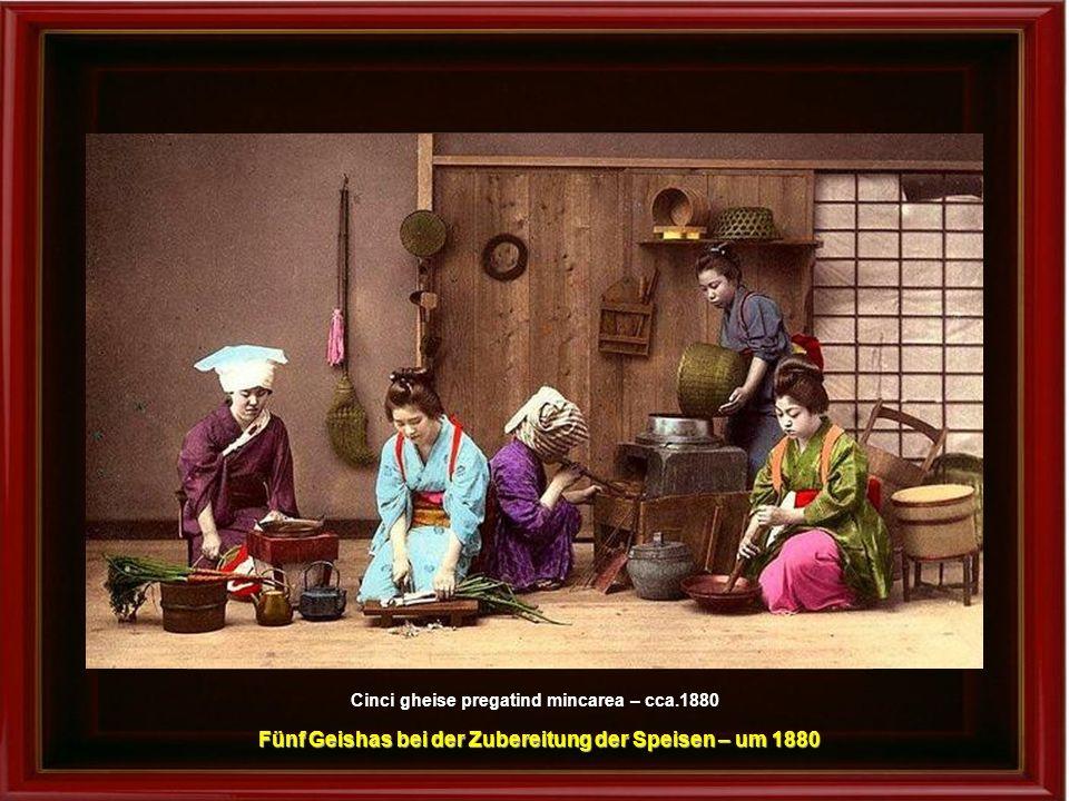 Fünf Geishas bei der Zubereitung der Speisen – um 1880