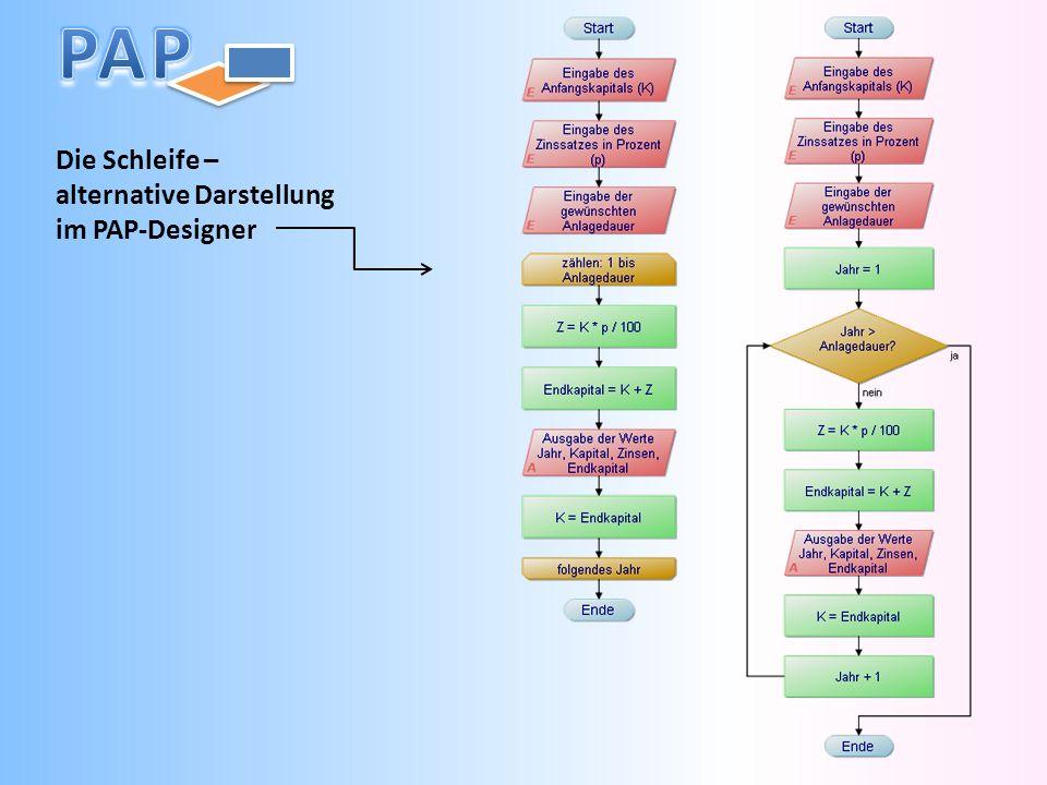 Die Schleife – alternative Darstellung im PAP-Designer