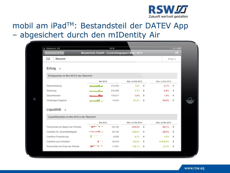 mobil am iPadTM: Bestandsteil der DATEV App – abgesichert durch den mIDentity Air