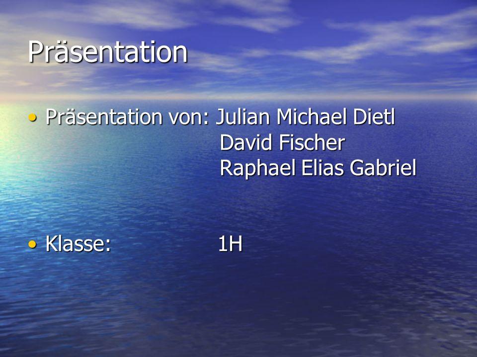 Präsentation Präsentation von: Julian Michael Dietl David Fischer