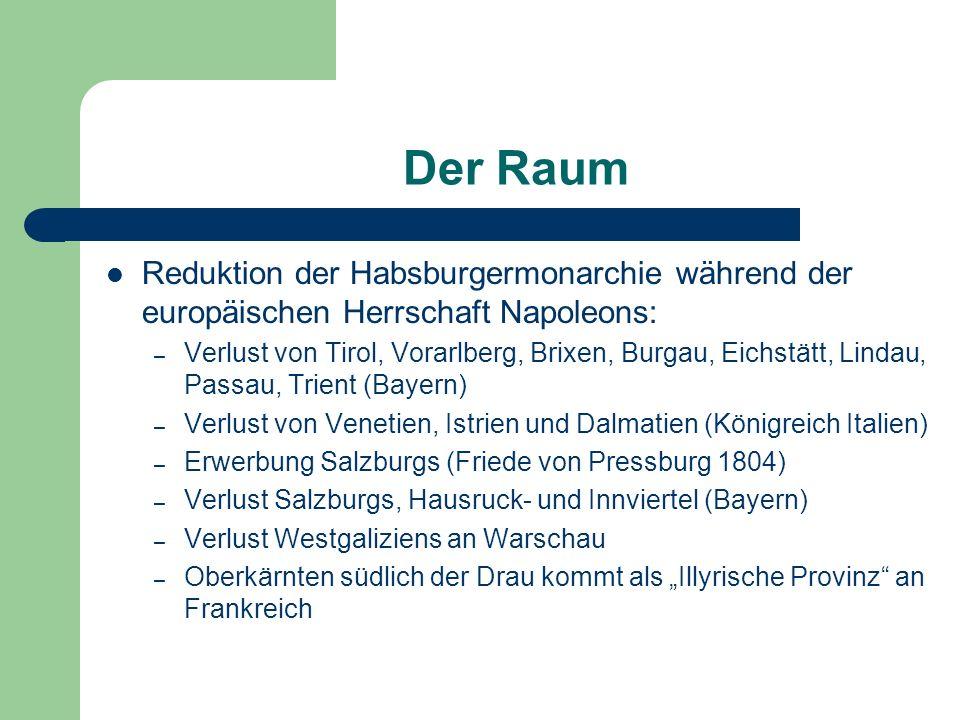 Der Raum Reduktion der Habsburgermonarchie während der europäischen Herrschaft Napoleons: