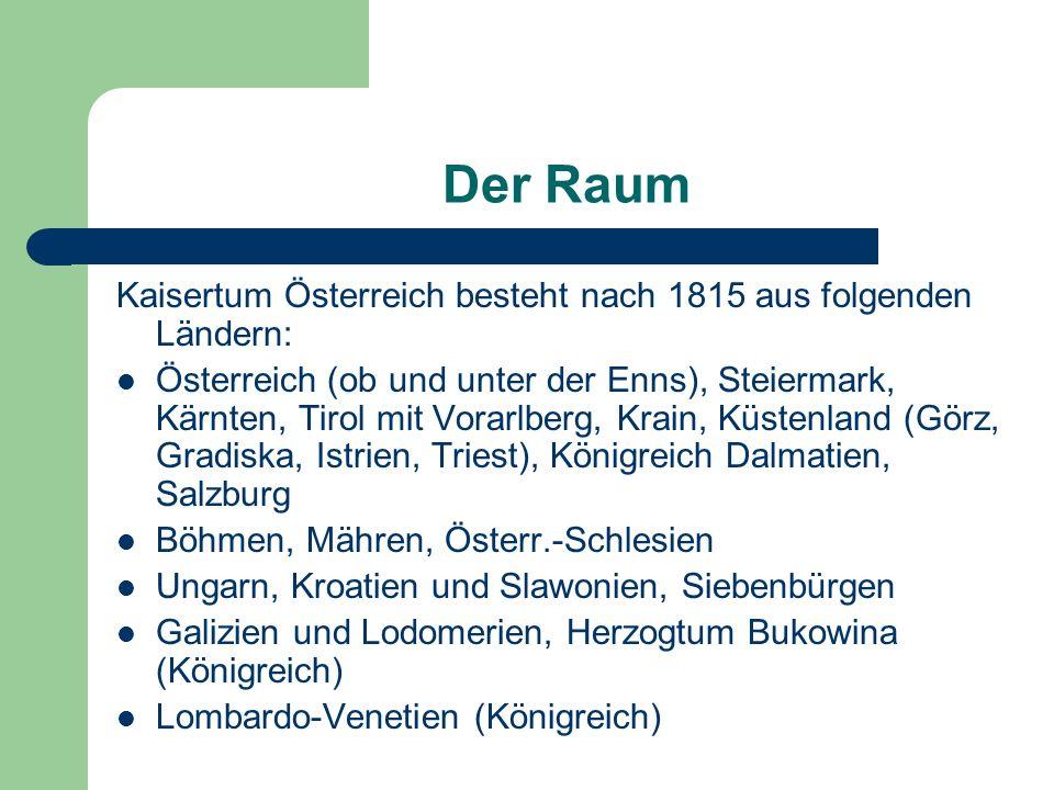 Der Raum Kaisertum Österreich besteht nach 1815 aus folgenden Ländern: