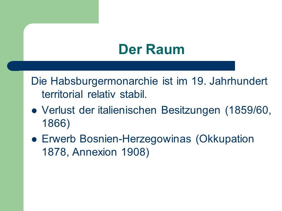 Der Raum Die Habsburgermonarchie ist im 19. Jahrhundert territorial relativ stabil. Verlust der italienischen Besitzungen (1859/60, 1866)