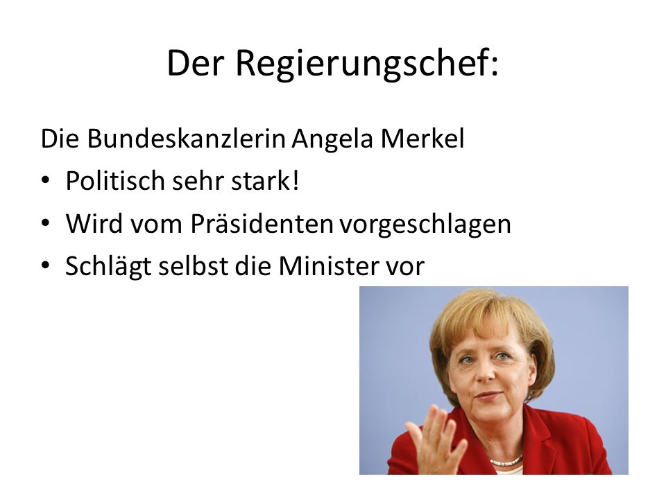 Der Regierungschef: Die Bundeskanzlerin Angela Merkel