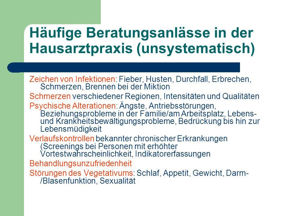 Häufige Beratungsanlässe in der Hausarztpraxis (unsystematisch)