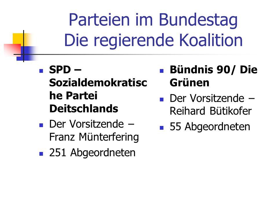 Parteien im Bundestag Die regierende Koalition