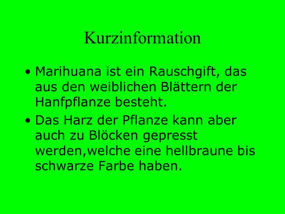 Kurzinformation Marihuana ist ein Rauschgift, das aus den weiblichen Blättern der Hanfpflanze besteht.