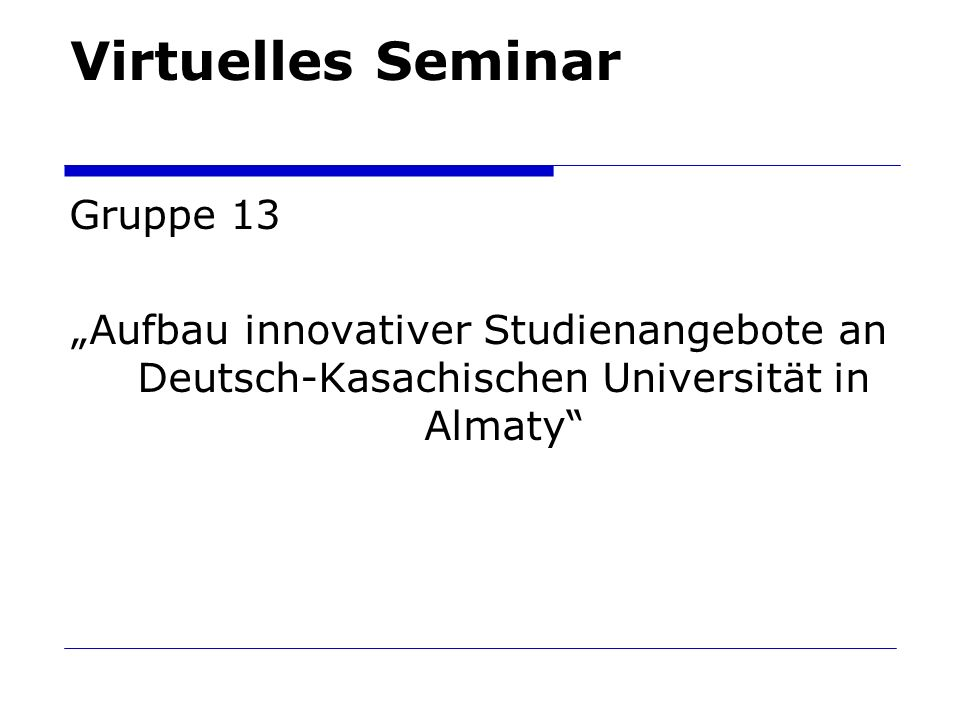 Virtuelles Seminar Gruppe 13