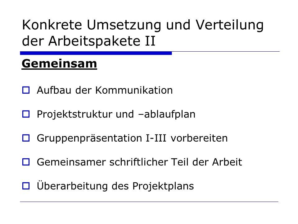 Konkrete Umsetzung und Verteilung der Arbeitspakete II