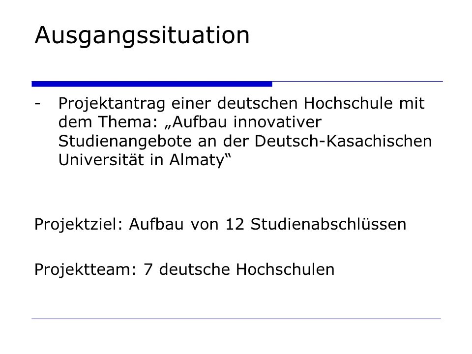 Ausgangssituation