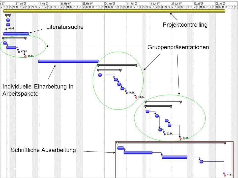Projektcontrolling Literatursuche. Gruppenpräsentationen. Individuelle Einarbeitung in Arbeitspakete.