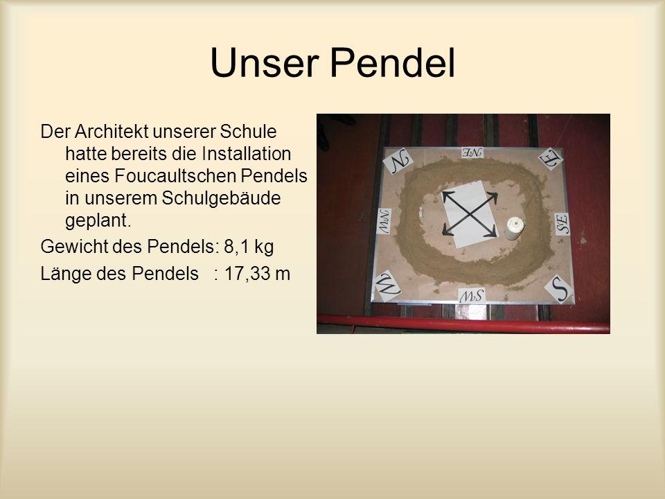 Unser Pendel Der Architekt unserer Schule hatte bereits die Installation eines Foucaultschen Pendels in unserem Schulgebäude geplant.