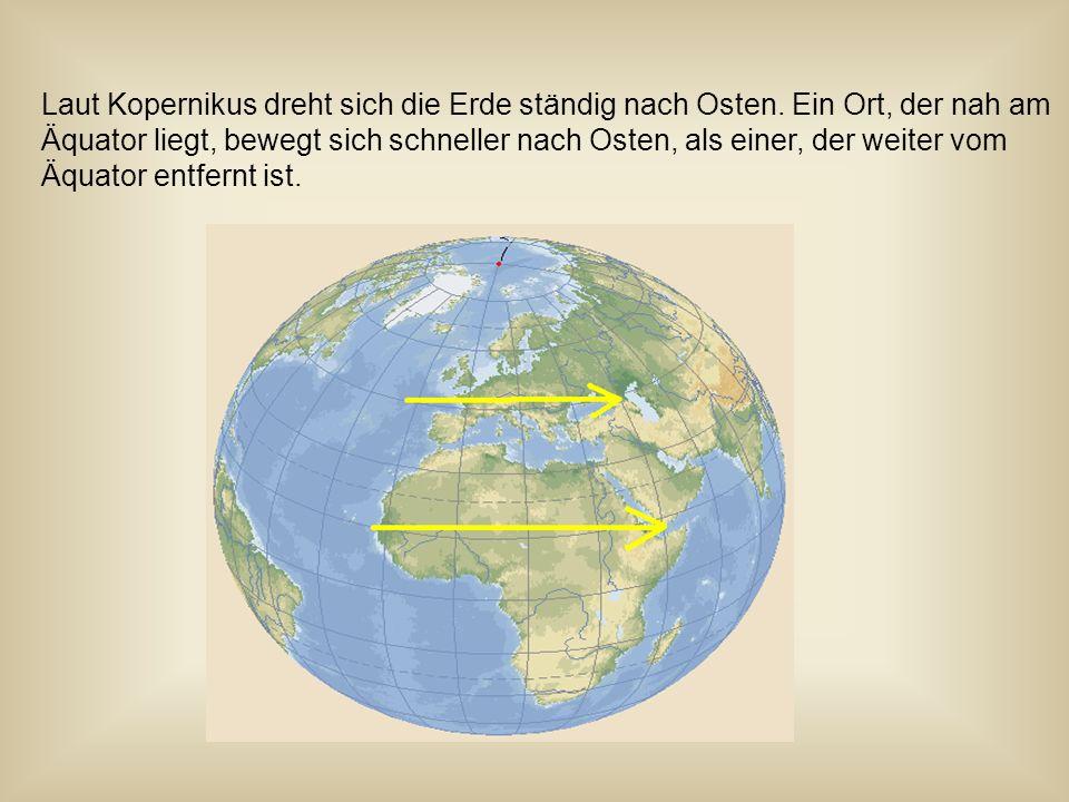 Laut Kopernikus dreht sich die Erde ständig nach Osten