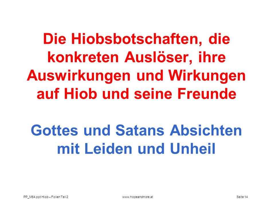 Die Hiobsbotschaften, die konkreten Auslöser, ihre Auswirkungen und Wirkungen auf Hiob und seine Freunde Gottes und Satans Absichten mit Leiden und Unheil