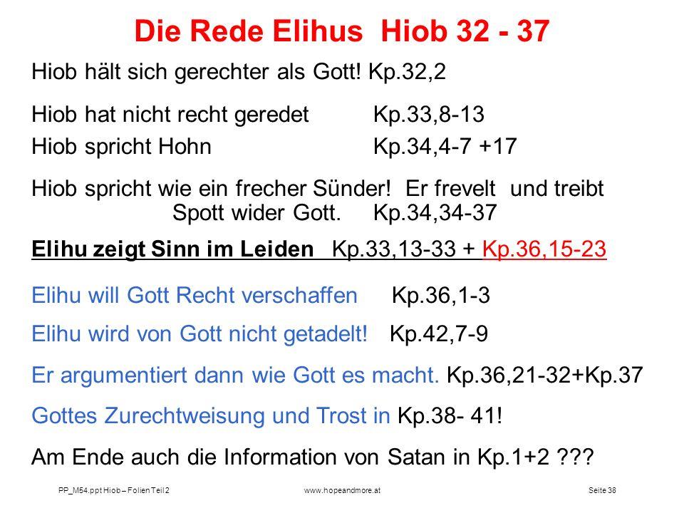 Die Rede Elihus Hiob 32 - 37 Hiob hält sich gerechter als Gott! Kp.32,2. Hiob hat nicht recht geredet Kp.33,8-13.
