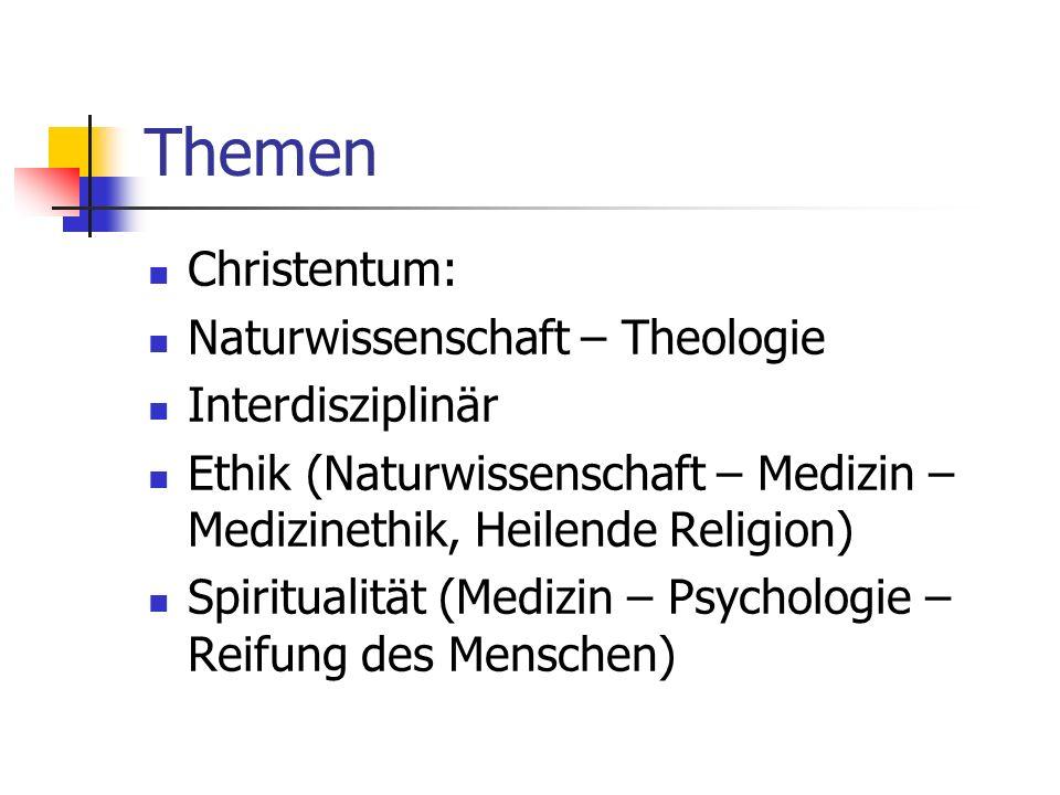 Themen Christentum: Naturwissenschaft – Theologie Interdisziplinär