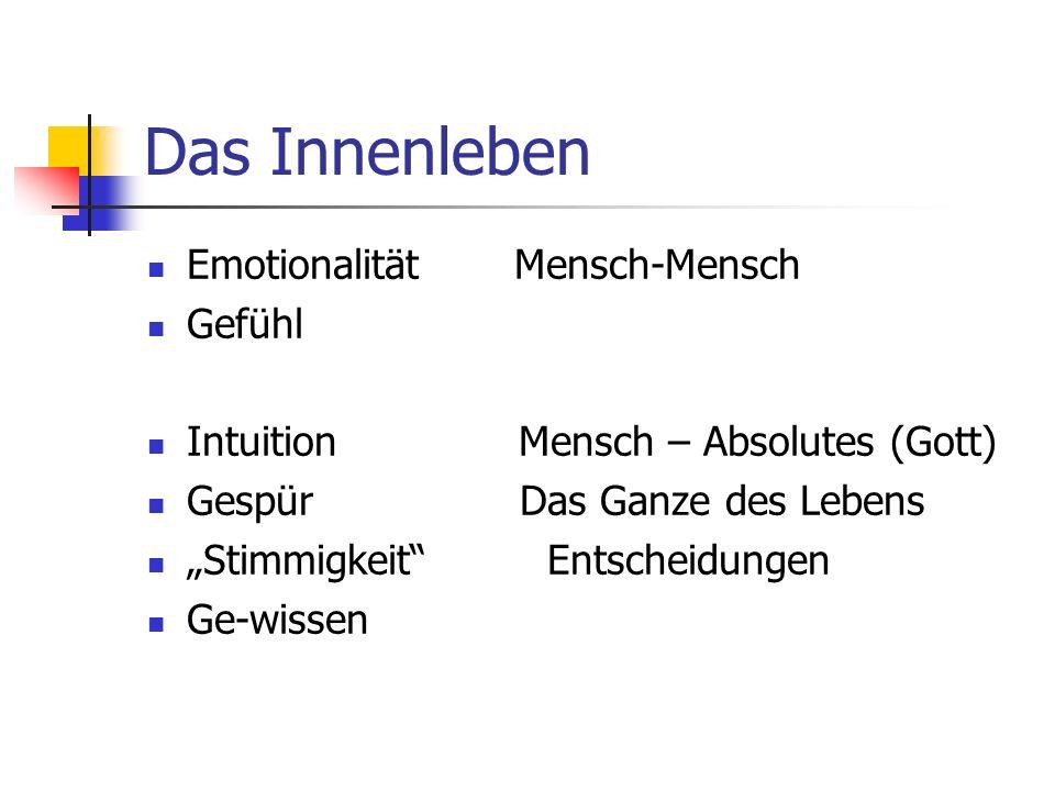 Das Innenleben Emotionalität Mensch-Mensch Gefühl