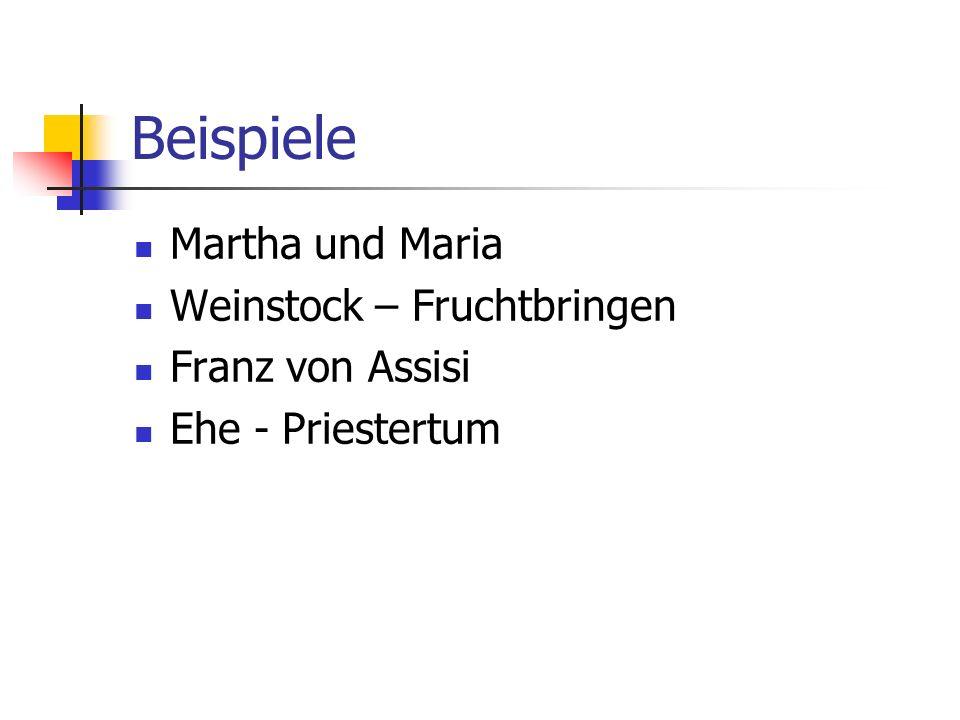 Beispiele Martha und Maria Weinstock – Fruchtbringen Franz von Assisi