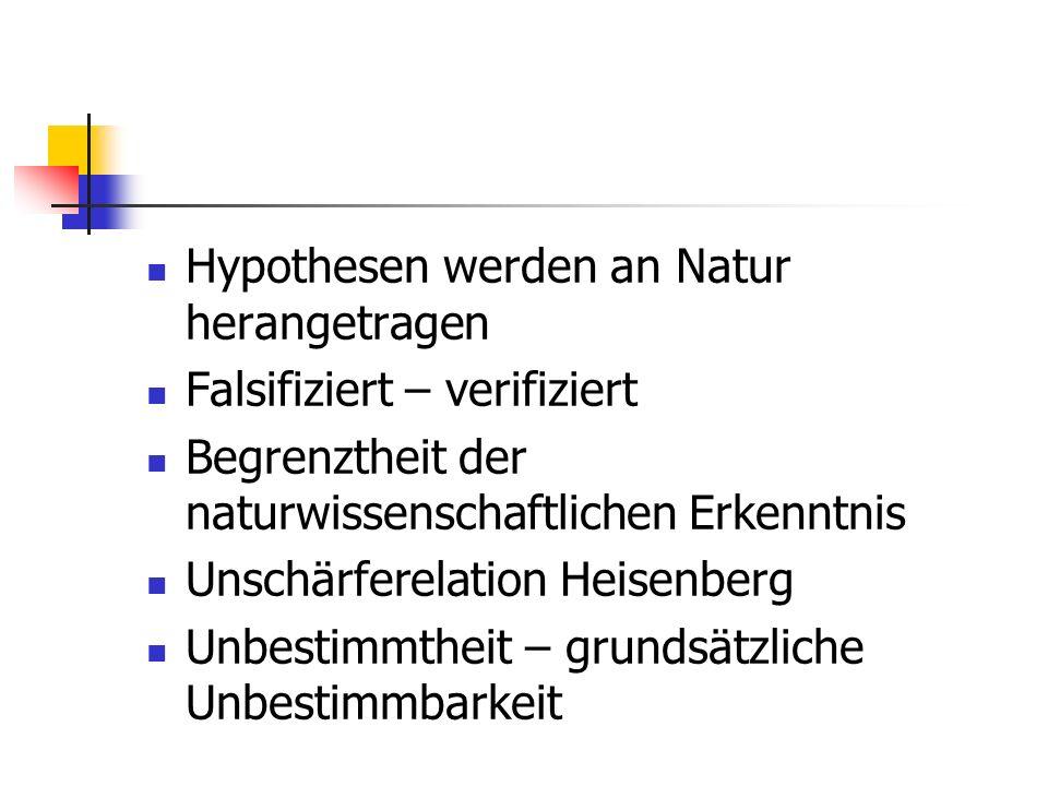 Hypothesen werden an Natur herangetragen
