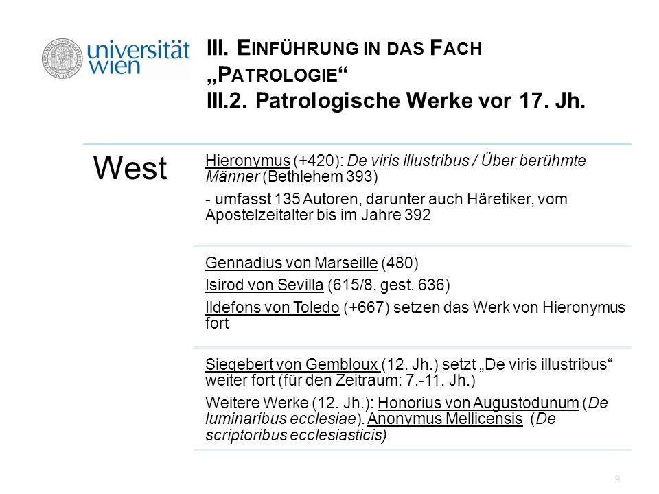 """III. Einführung in das Fach """"Patrologie III. 2"""