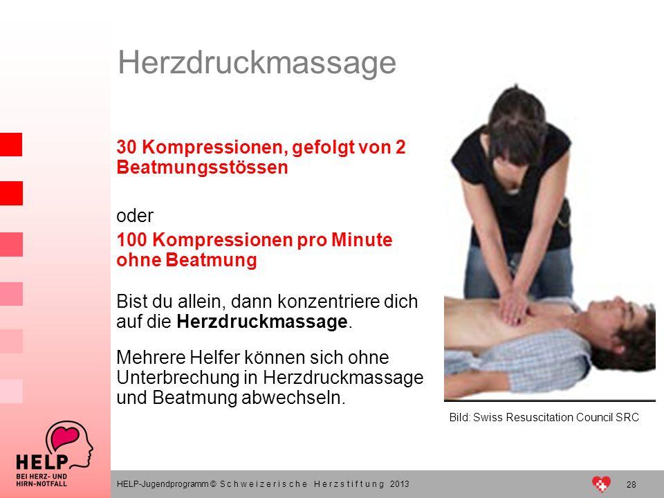 Herzdruckmassage 30 Kompressionen, gefolgt von 2 Beatmungsstössen oder