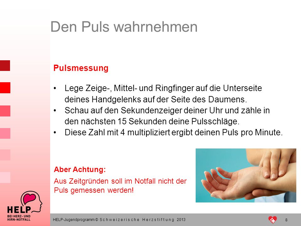 Den Puls wahrnehmen Pulsmessung