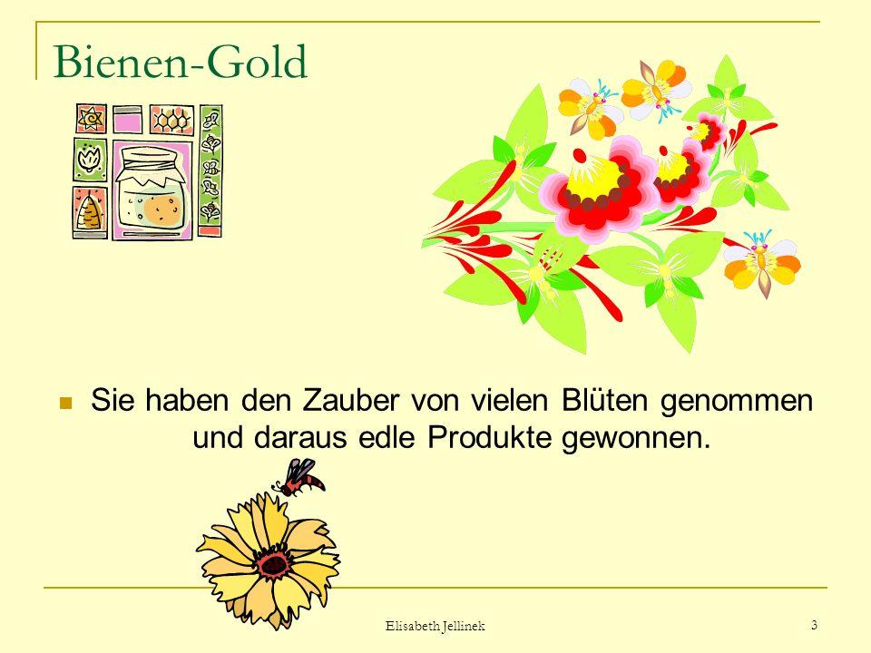 Bienen-Gold Sie haben den Zauber von vielen Blüten genommen und daraus edle Produkte gewonnen. Elisabeth Jellinek.