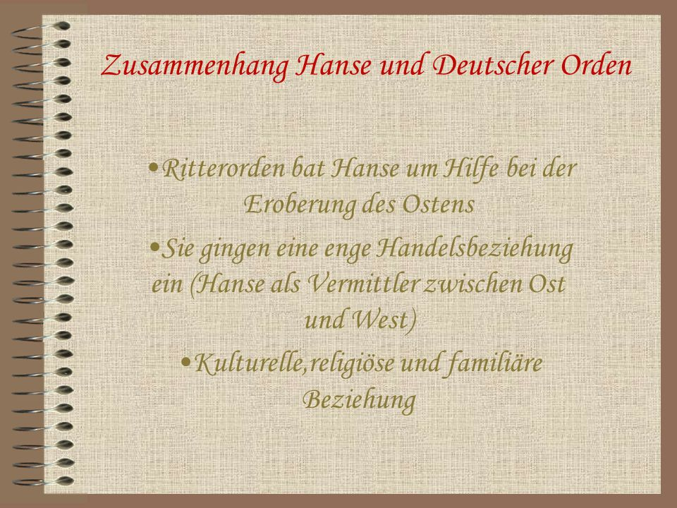 Zusammenhang Hanse und Deutscher Orden
