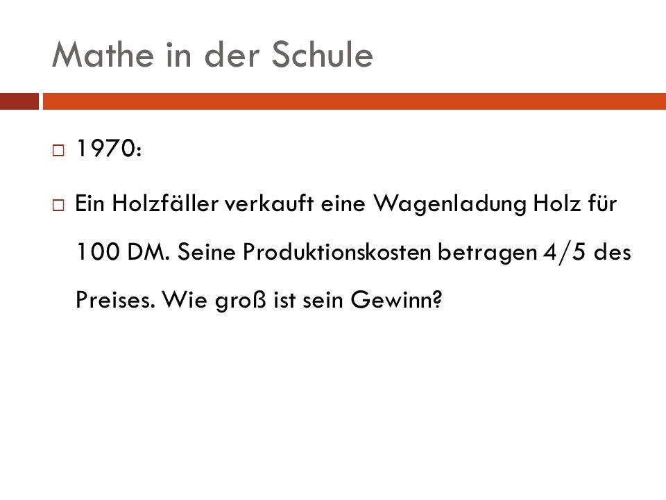 Mathe in der Schule 1970: