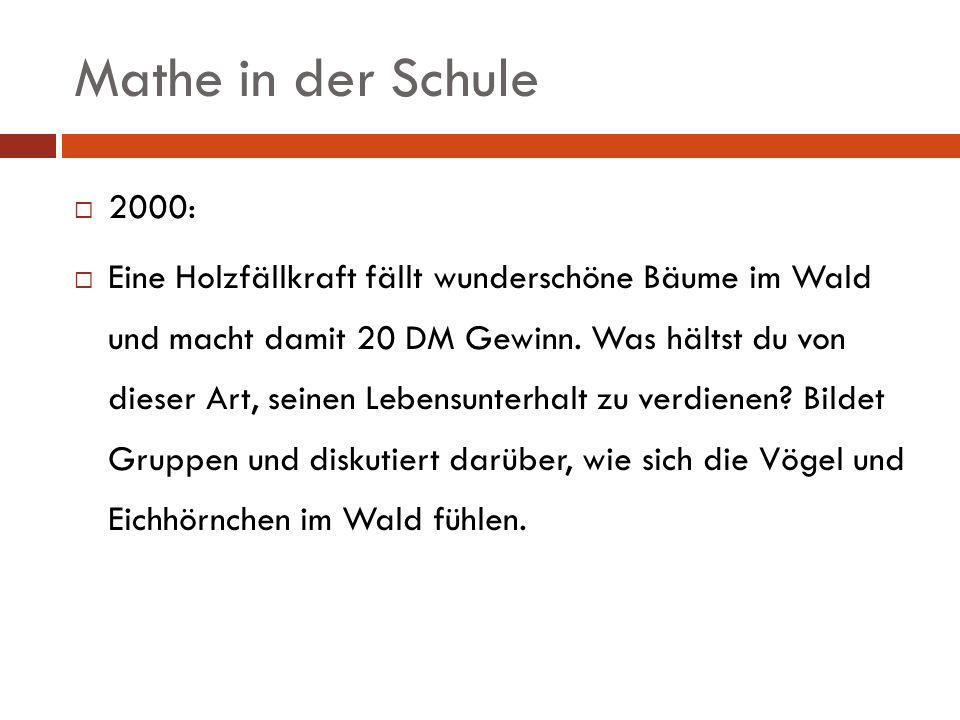 Mathe in der Schule 2000: