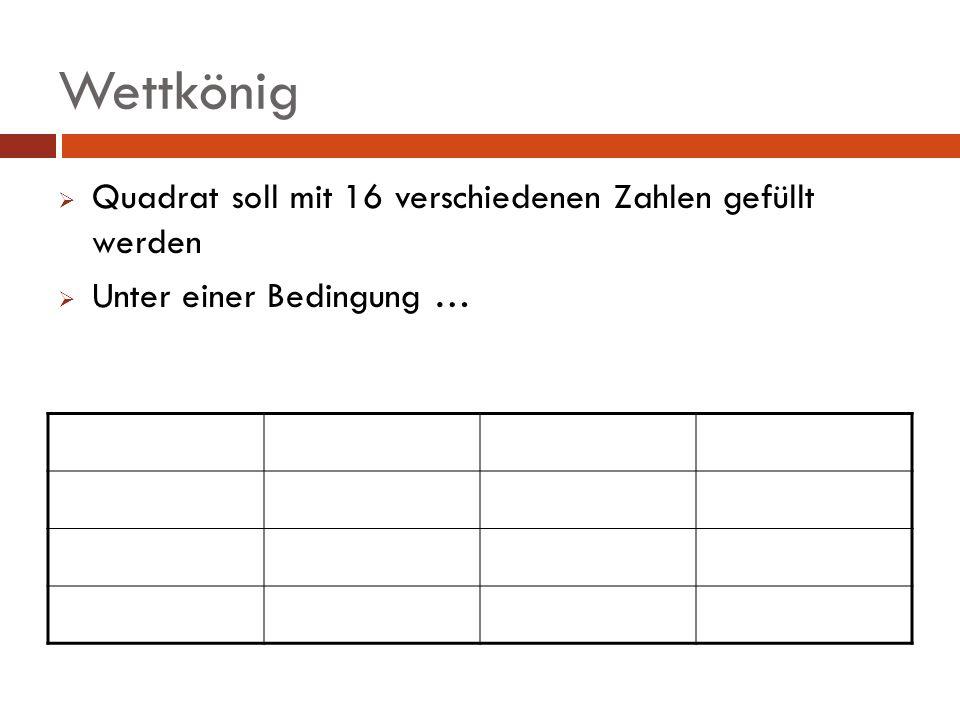 Wettkönig Quadrat soll mit 16 verschiedenen Zahlen gefüllt werden
