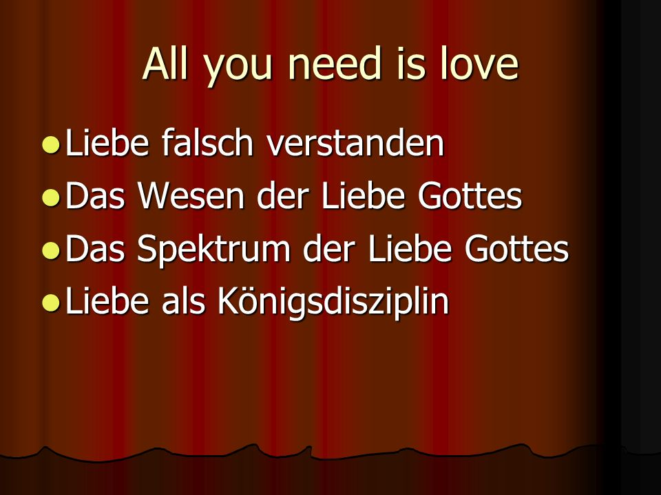 All you need is love Liebe falsch verstanden