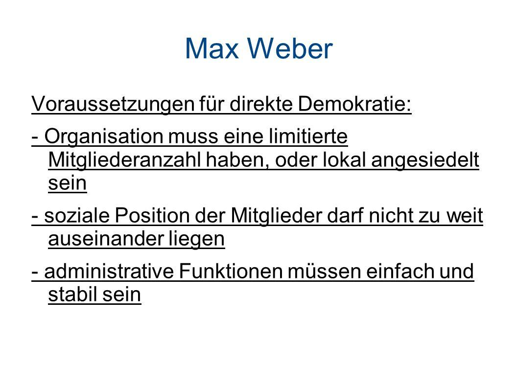 Max Weber Voraussetzungen für direkte Demokratie: