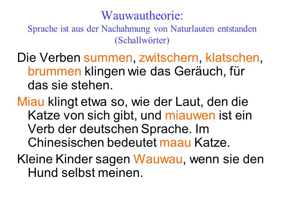 Wauwautheorie: Sprache ist aus der Nachahmung von Naturlauten entstanden (Schallwörter)