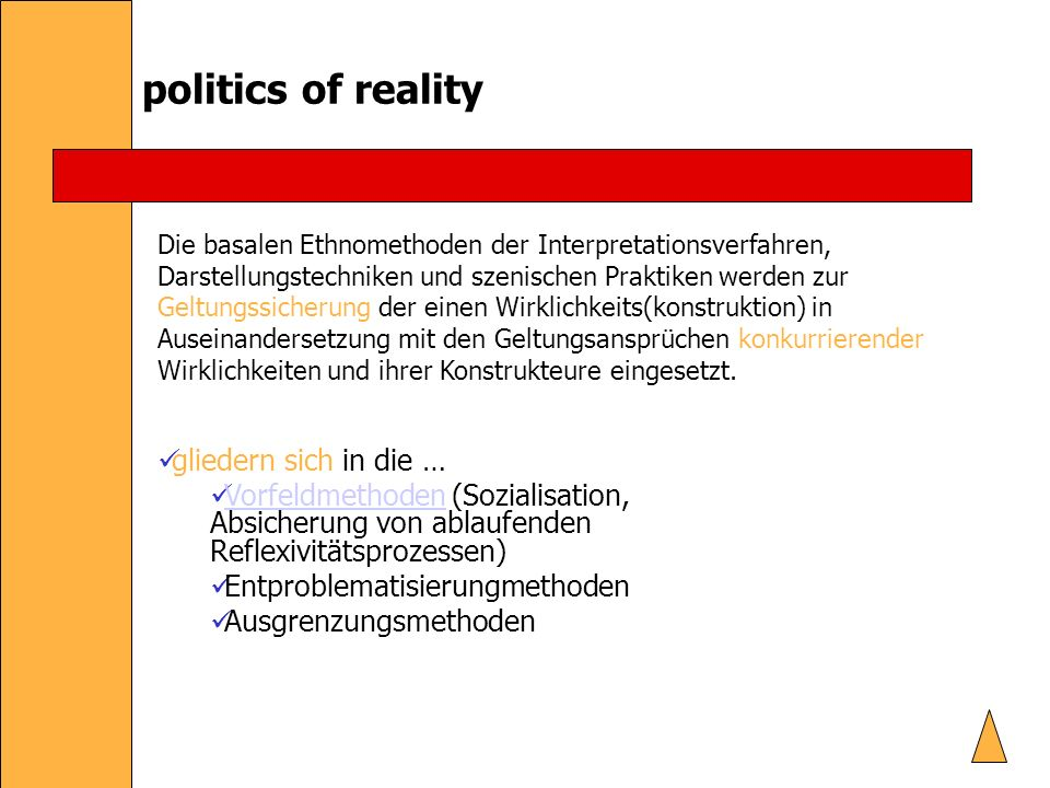 politics of reality gliedern sich in die …