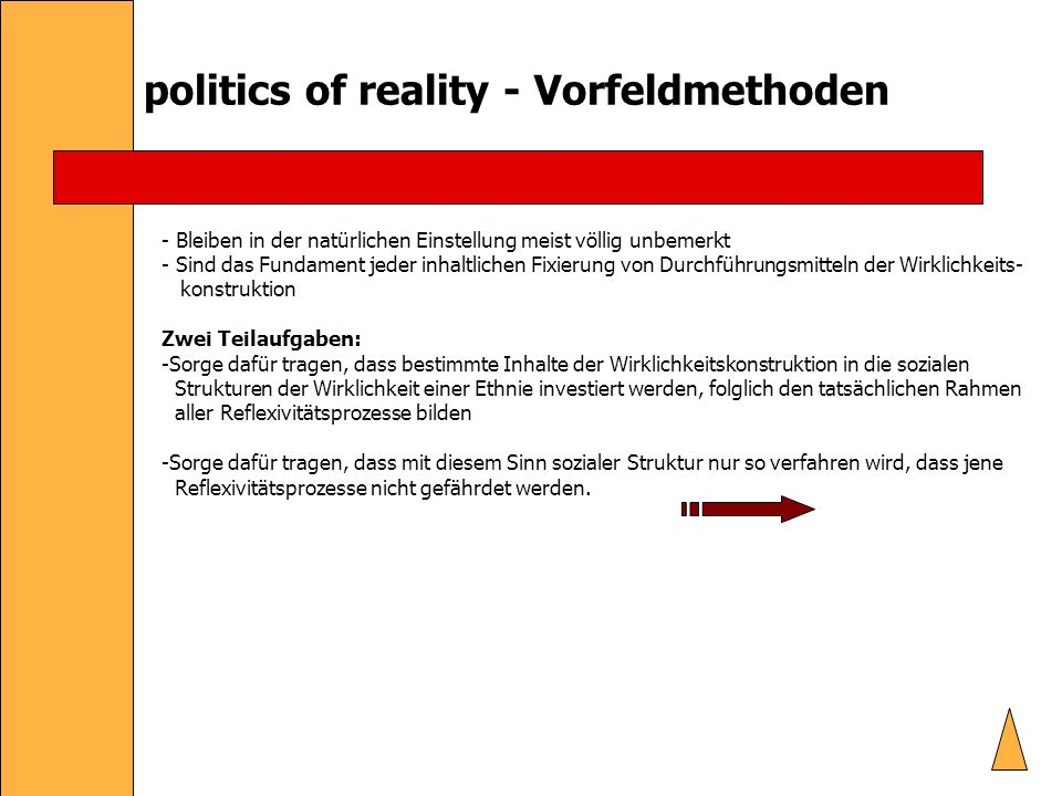 politics of reality - Vorfeldmethoden