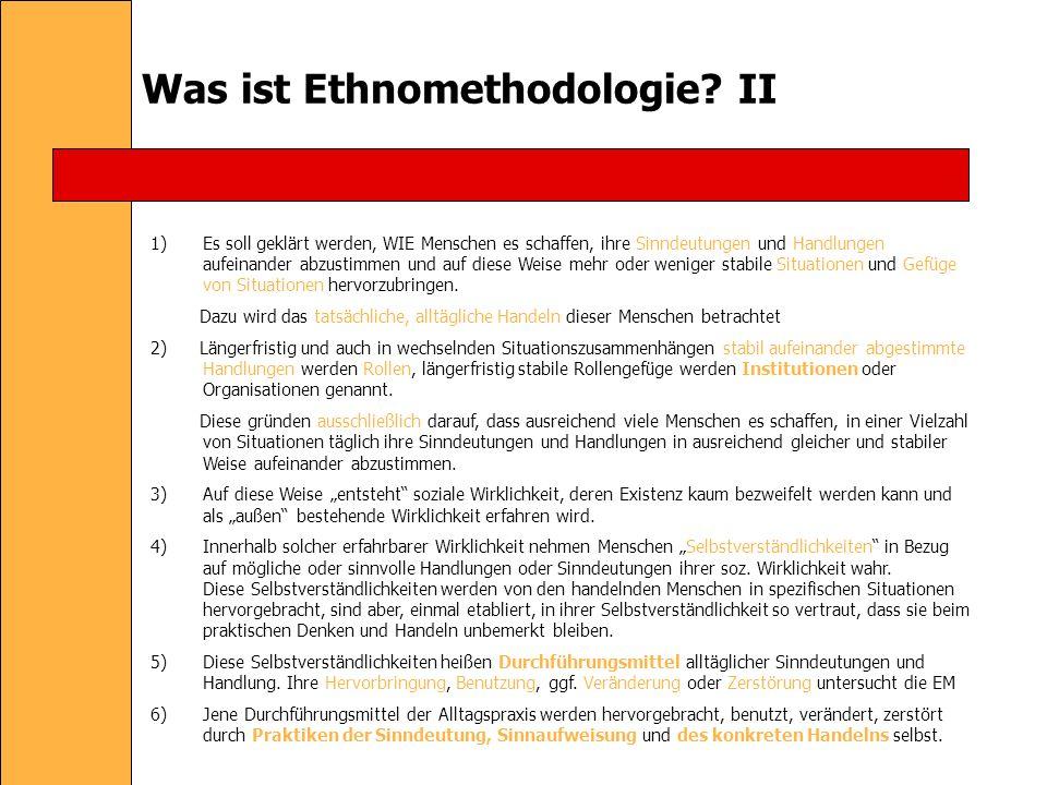 Was ist Ethnomethodologie II