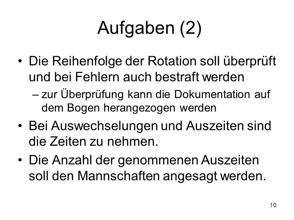 Aufgaben (2) Die Reihenfolge der Rotation soll überprüft und bei Fehlern auch bestraft werden.