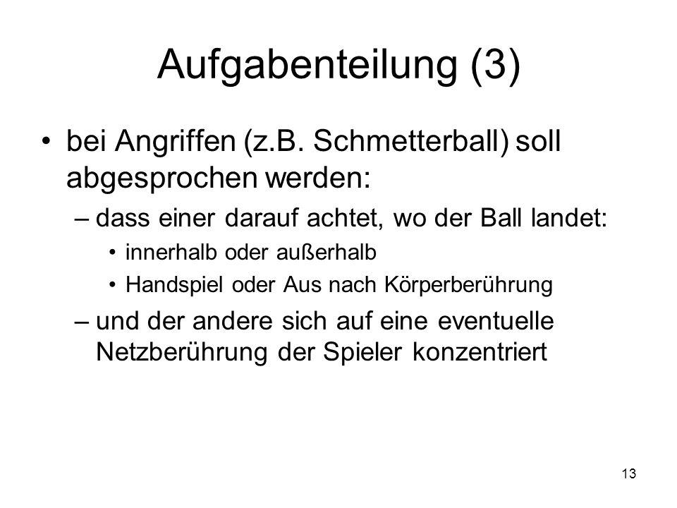 Aufgabenteilung (3) bei Angriffen (z.B. Schmetterball) soll abgesprochen werden: dass einer darauf achtet, wo der Ball landet: