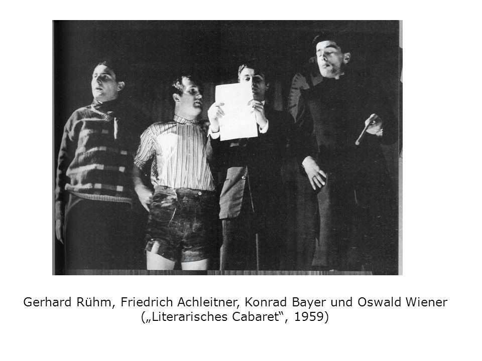 """Gerhard Rühm, Friedrich Achleitner, Konrad Bayer und Oswald Wiener (""""Literarisches Cabaret , 1959)"""